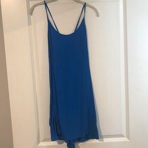 Blue open back shift dress